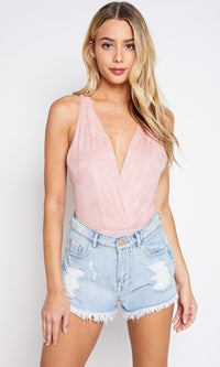 Divine Angel Pink Faux Suede Sleeveless Cross Wrap V Neck Crisscrossing Straps Bodysuit Top - Sold Out