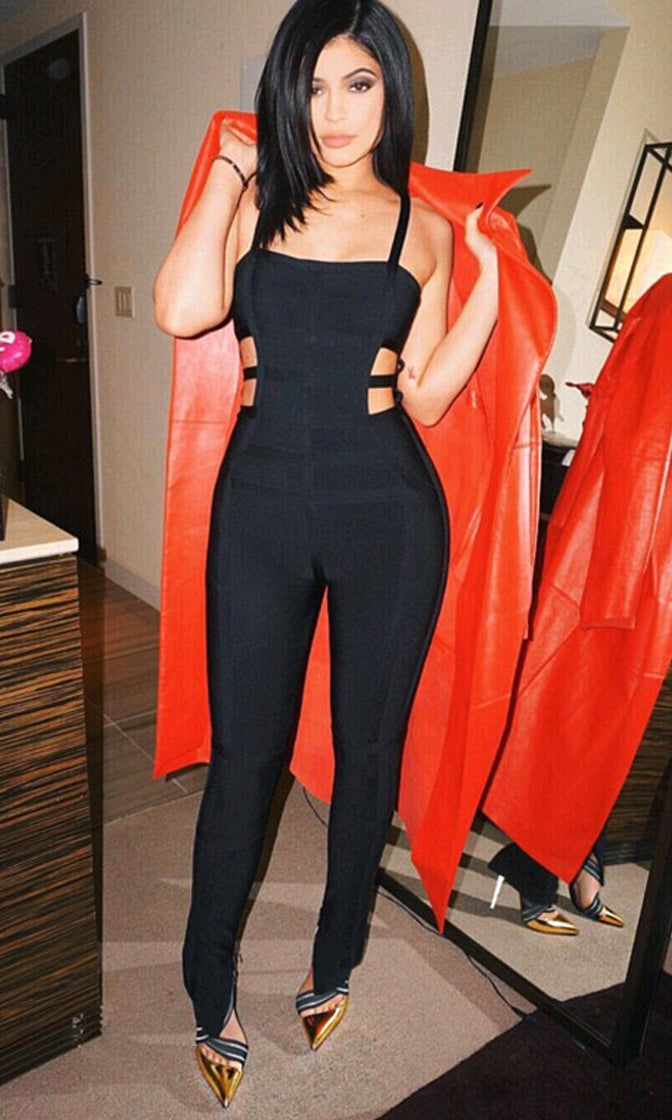 Off The Wall Black Spaghetti Strap Square Neck Cut Out Side Bandage Jumpsuit - Inspired by Kylie Jenner - Back in Stock!