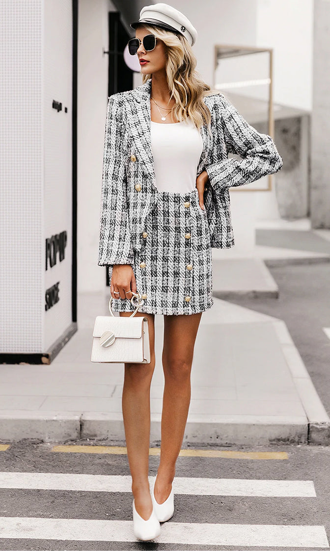 Lady Boss Gray White Black Plaid Pattern Tweed Long Sleeve Gold Button Blazer Jacket Outerwear