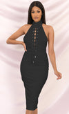 Indie XO In The Lead Black Silky Strapless Tie Front High Waist Palazzo Jumpsuit Pants