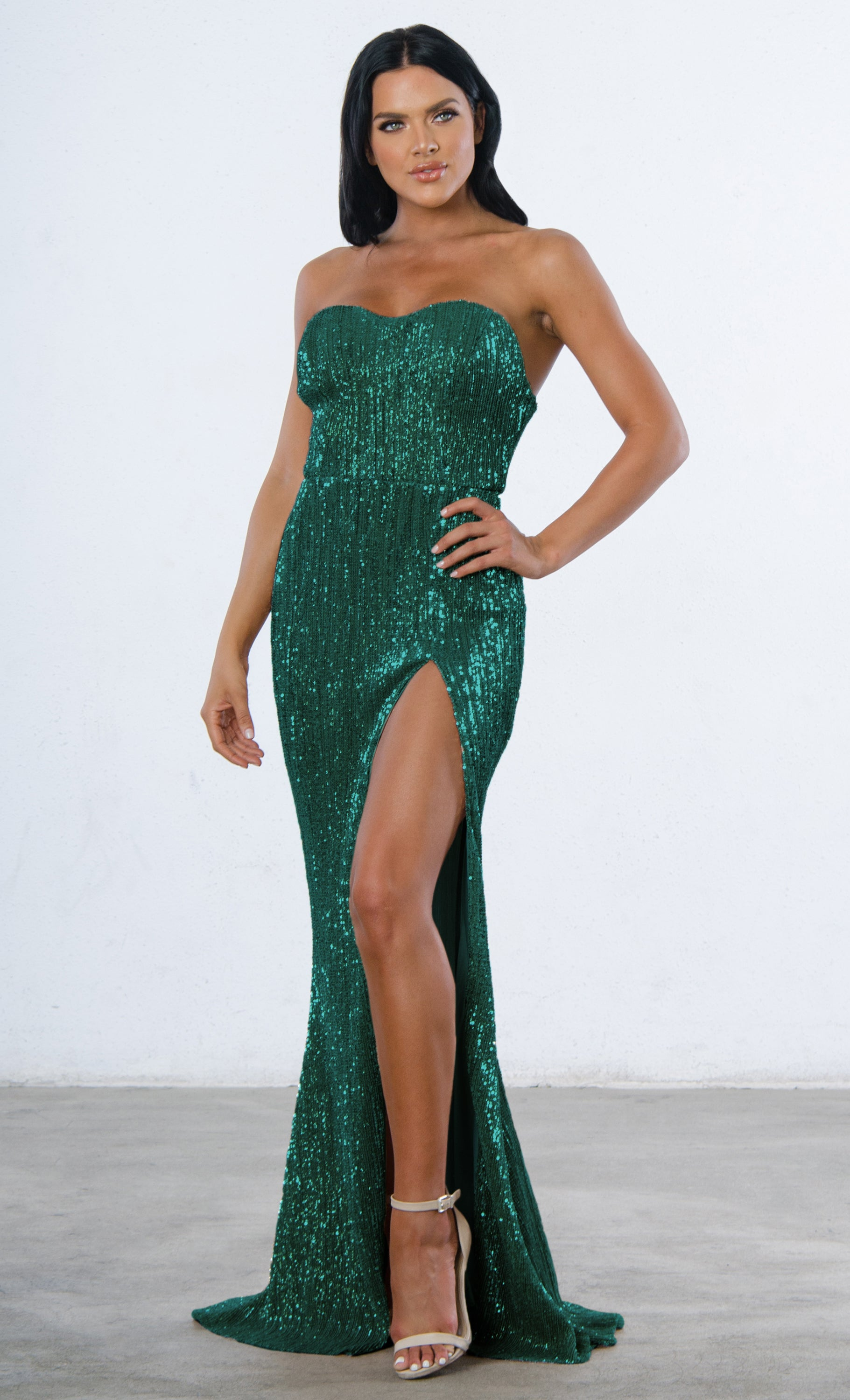 Indie XO Show Me Some Love Blue Sequin Strapless Sweetheart Neck High Slit Fishtail Maxi Dress - 5 Colors Available