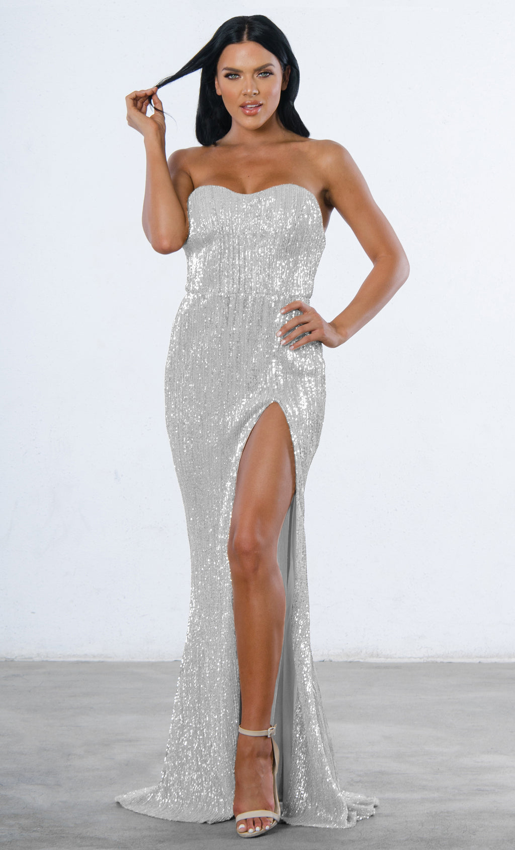 Indie XO Show Me Some Love Sequin Strapless Sweetheart Neck High Slit  Fishtail Maxi Dress -