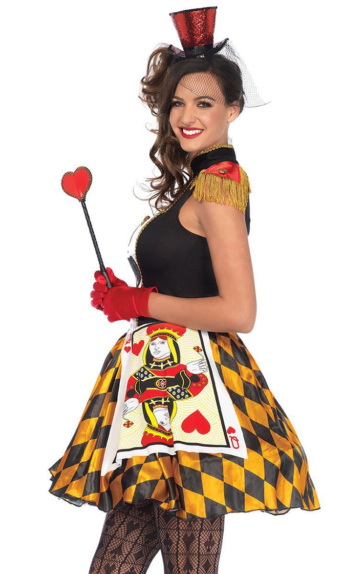 Play Your Cards Right Yellow Black Red Fringe Cap Sleeve Diamond Pattern Mock Neck Cut Out Flare A Line Mini Dress Halloween Costume