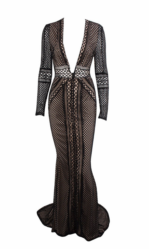 Midnight Gala Black Sheer Fishnet Mesh Long Sleeve Plunge V Neck Maxi Dress