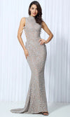 Believe In Love White Sequin Sleeveless Mock Neck Halter Backless Maxi Dress