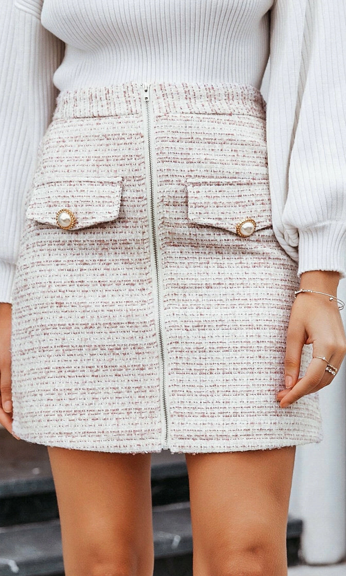 Sophisticated Lady White Brown Plaid Pattern Boucle Texture High Waist Zip Front Pearl Button Mini Skirt