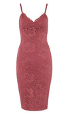 Calabasas Queen Rose Lace Sleeveless Spaghetti Strap V Neck Bodycon Bandage Midi Dress - Sold Out