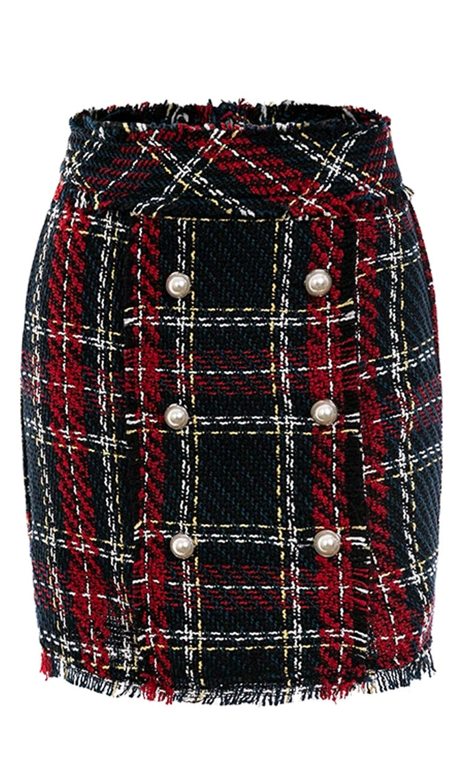 Totally Clueless Navy Blue Red White Plaid Pattern Tweed A Line Mini Skirt