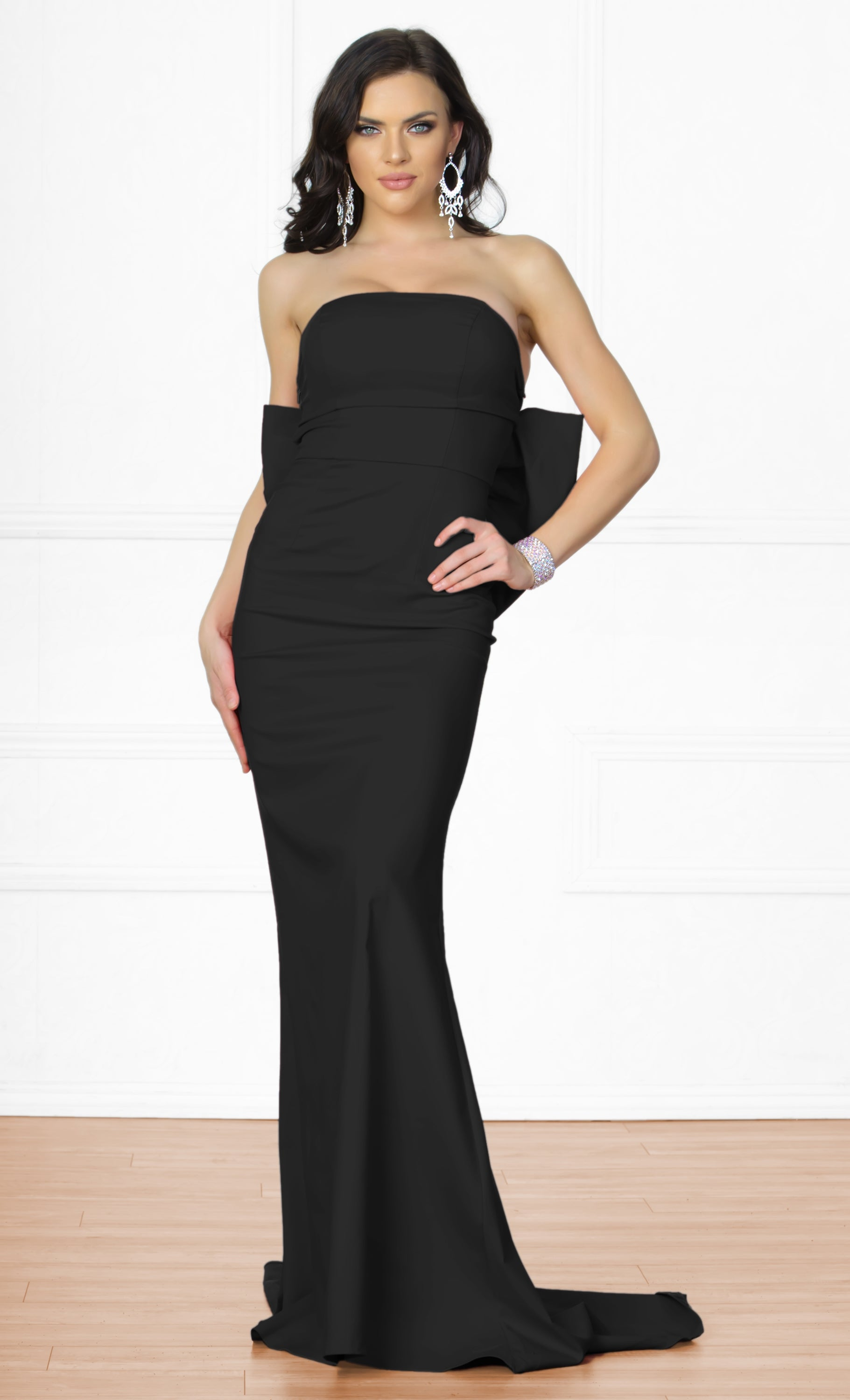 Indie XO Bow Me a Kiss Black Strapless Low Back Maxi Dress Gown