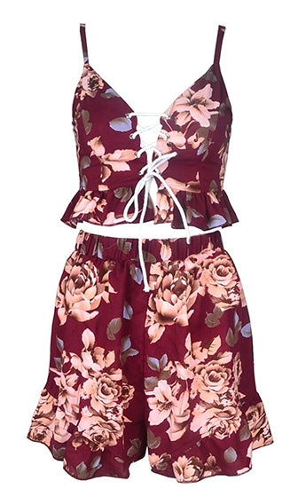 By The Bayou Burgundy Wine Pink White Green Spaghetti Strap Sleeveless Lace Up V Neck Ruffle Crop Two Piece Short Set Playsuit