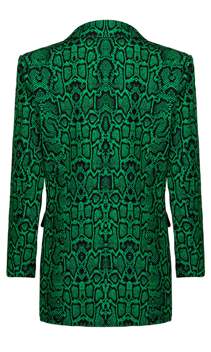 Hard Work Green Snake Print Animal Pattern Long Sleeve Button Blazer Jacket Outerwear