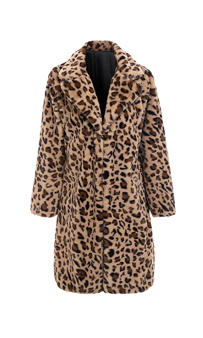Jungle Cat Leopard Print Animal Pattern Faux Fur Long Sleeve Knee Length Coat Outerwear - Sold Out