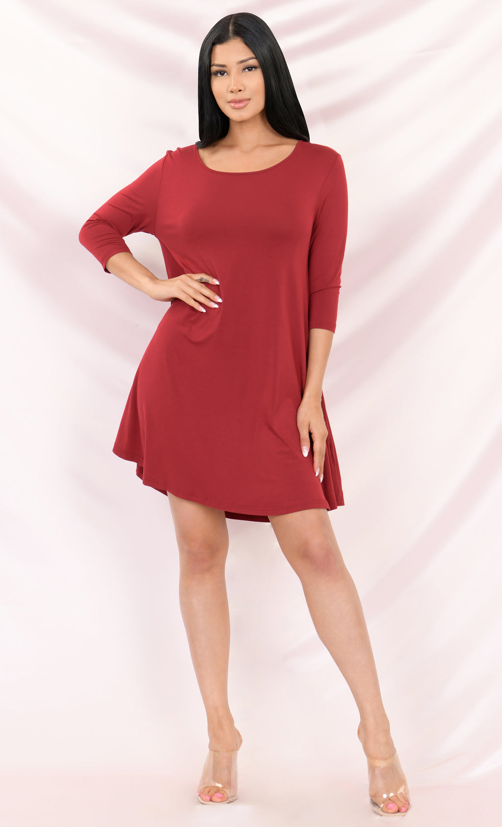 Making It Easy Burgundy Red 3/4 Long Sleeve Scoop Neck Piko Hidden Pockets Bamboo Oversized Tunic Tee Shirt Mini Dress