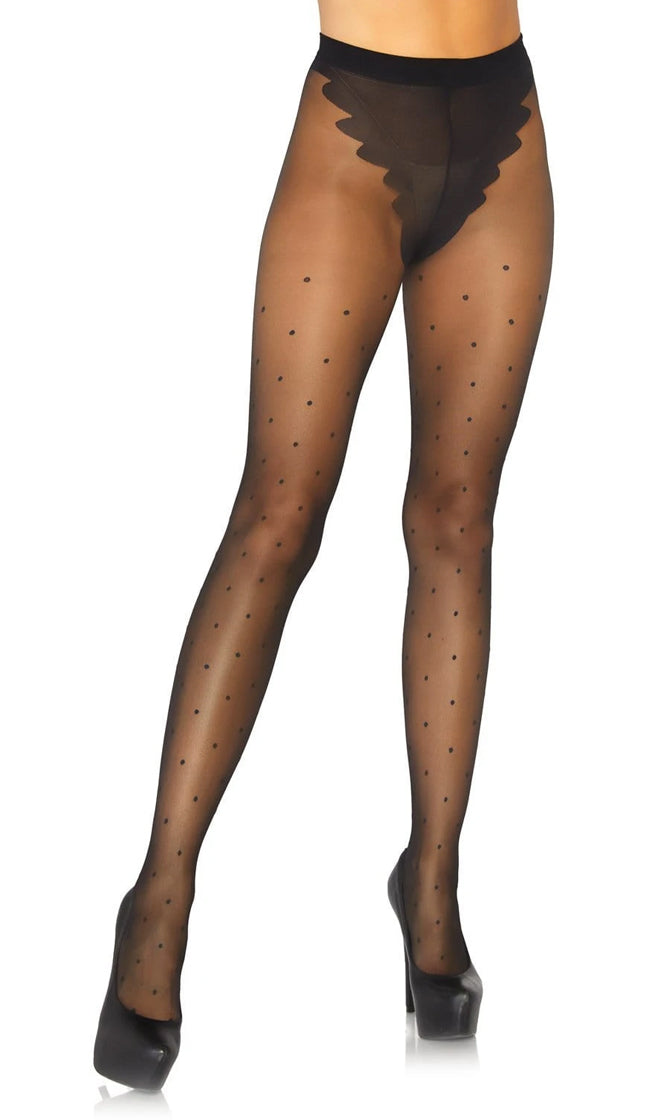 French Kisses Black Sheer French Cut Polka Dot Pattern Tights Stockings Hosiery