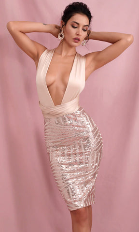 Giving Up On You Sequin Sleeveless Square Neck Crop Top Ruched Sash Bodycon Two Piece Mini Dress - 2 Colors Available