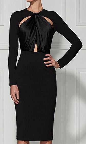 Twilight Zone Long Sleeve Cut Out Twist Crew Neck Bodycon Bandage Midi Dress - 2 Colors Available