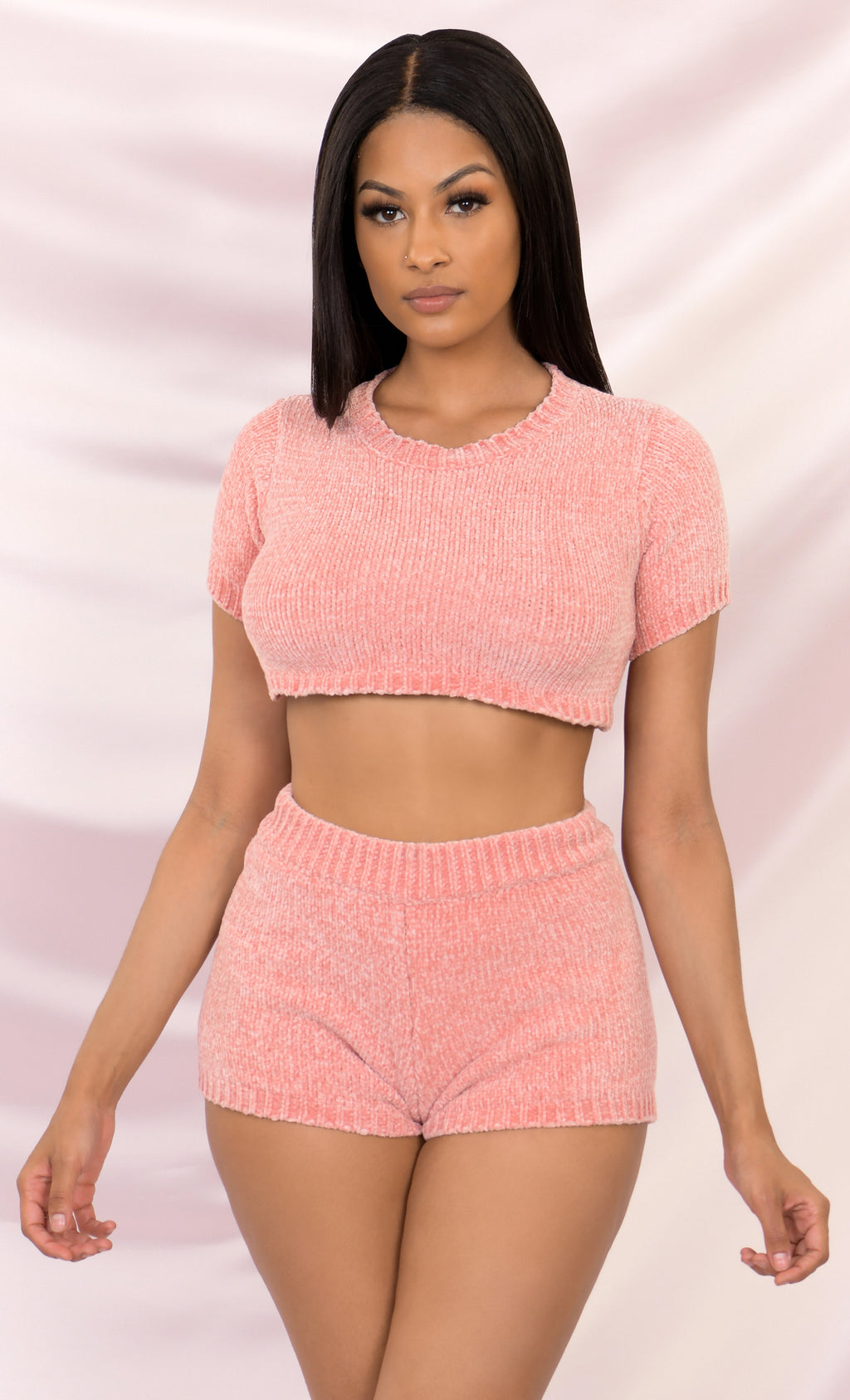 Always Chill Pink Short Sleeve Crew Neck Crop Top Sweater Chenille Elastic Shorts Two Piece Lounge Romper Set