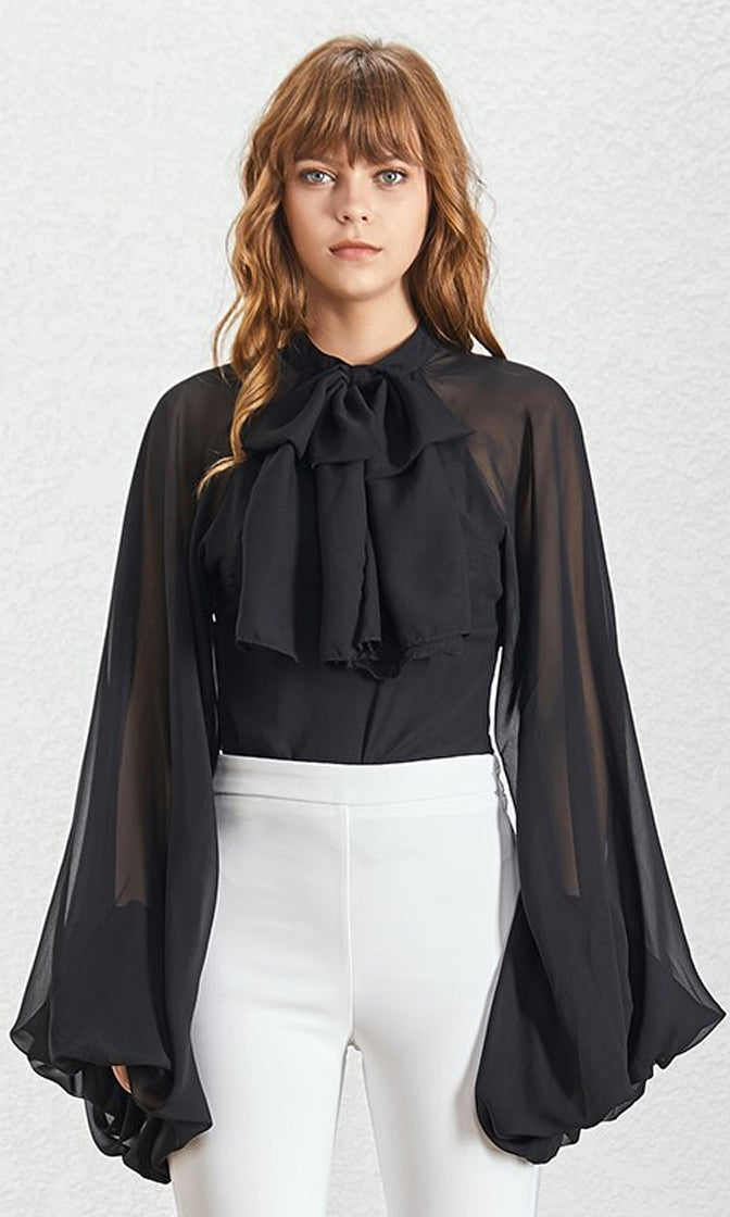 Don't Give Up Black Extra Long Lantern Sleeve Sheer Chiffon Bow Neck Blouse Top