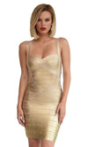Party Girl Gold Metallic Foil Sleeveless V Neck Bandage Bodycon Mini Dress