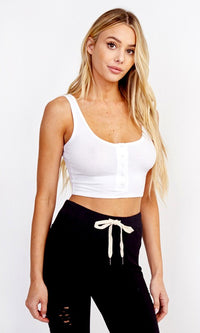 Working Hard Sleeveless Scoop Neck Snap Front Crop Basic Tank Top - 2 Colors Available - Sold Out