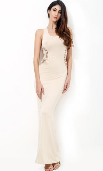 Summer In The City Beige Sleeveless Scoop Neck Cut Out Lace Halter Bodycon Maxi Casual Dress
