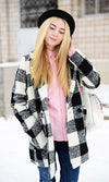 On A Winter's Day Black White Buffalo Plaid Long Sleeve Coat - Sold Out