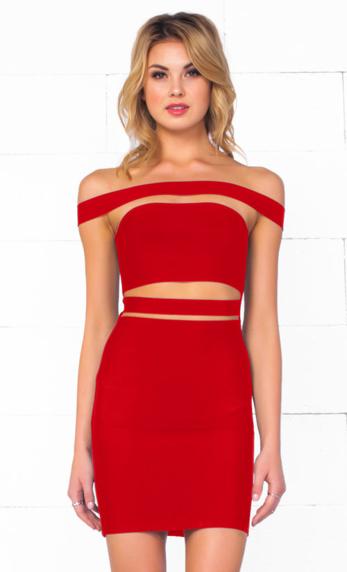 Indie XO It Girl Red Strapless Cut Out Bandage Bodycon Mini Dress - Inspired by Kylie Jenner