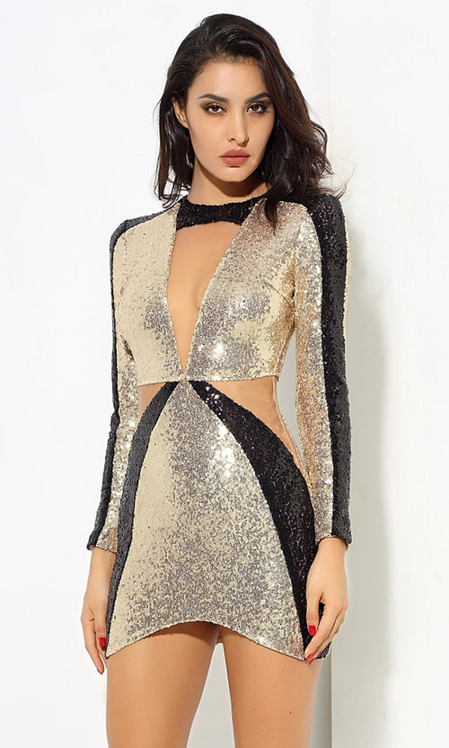 Future Love Gold Black Sequin Long Sleeve Plunge V Neck Cut Out Bodycon Mini Dress