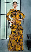 All In Stride Yellow Geometric Pattern Long Sleeve Tie Neck Keyhole Cut Out Backless Ruffle Maxi Dress - Sold Out
