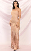 Go For The Gold Metallic Gold Sleeveless Spaghetti Strap Square Neck Fringed Bodycon Bandage Maxi Dress
