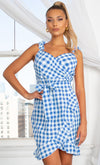 Wild For You Blue Green Dragon Pattern Sleeveless Spaghetti Strap V Neck Casual Bodycon Mini Dress