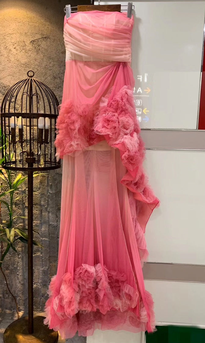 Kings And Queens Pink Sheer Mesh Ruched Tulle Ombré Gradient Boned Corset Strapless Draped Ruffle Maxi Dress
