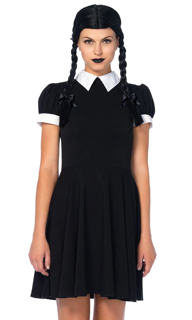 Mysterious And Spooky Black Short Sleeve Collar Skater Circle Flare A Line Mini Dress Halloween Costume