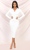 Heaven Sent Mint Green Long Sleeve Stretch Bodycon Ruched Tie Front Waist V Neck Mini Dress