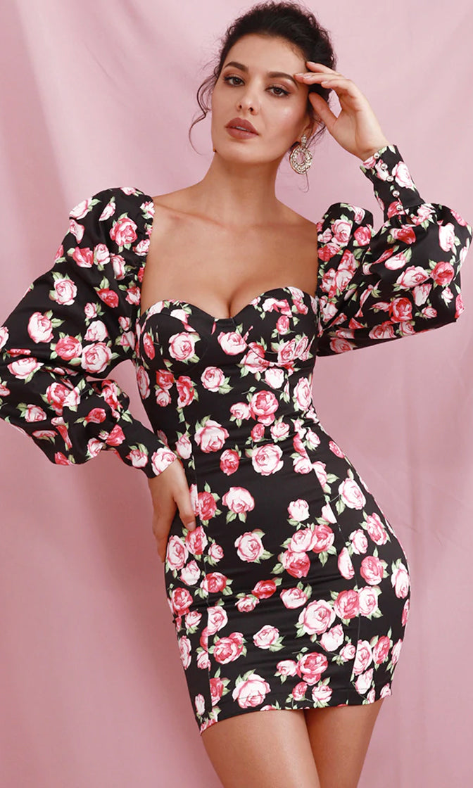 Tea For Two Black Pink Rose Floral Pattern Long Lantern Sleeve Puff Shoulder Sweetheart Neck Bodycon Casual Mini Dress