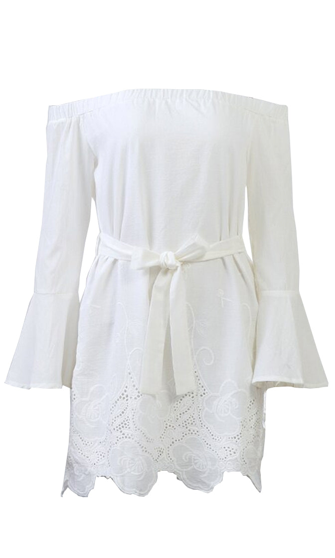 Great Point White Lace Long Flare Sleeve Off The Shoulder Tie Casual Mini Dress - Sold Out