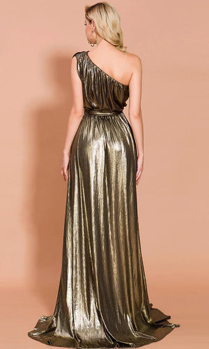 Because You're Worth It Gold Metallic Sleeveless One Shoulder Pleat Drape Side Slit Maxi Dress