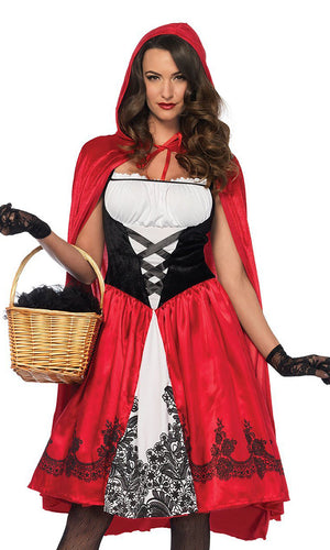 Grannie's Favorite Red White Black Sleeveless Ruffle Lace Up Hood Cape Flare A Line Midi Dress Halloween Costume