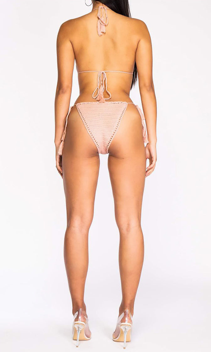 Summer Spirit Crochet Spaghetti Strap V Neck Cut Out Sides Backless One Piece Monokini Swimsuit - 2 Colors Available