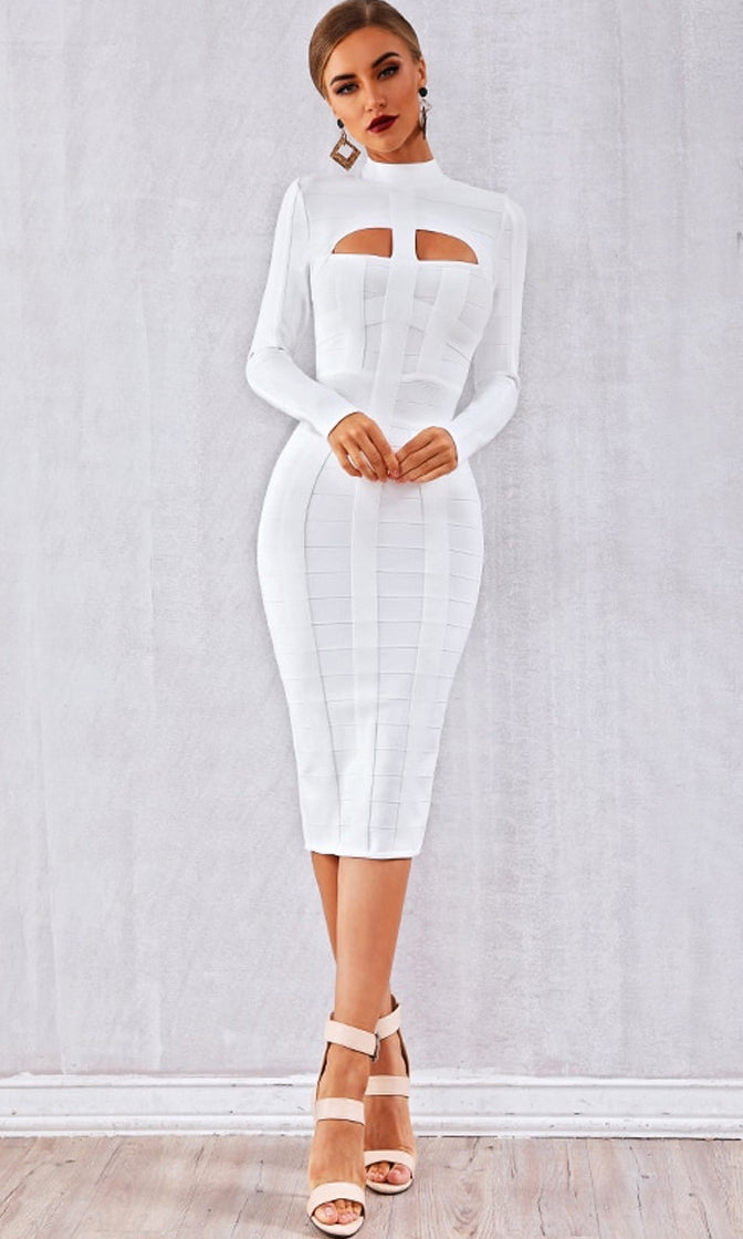 Miss Understood White Long Sleeve Mock Neck Cut Out Bodycon Bandage Midi Dress