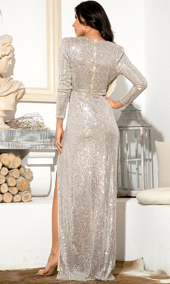 A Million Dreams Silver Sequin Long Sleeve Cross Wrap V Neck Drape Slit Maxi Dress