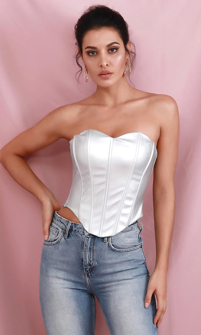 Party Forever Silver PU Faux Leather Strapless Sweetheart Bustier Top
