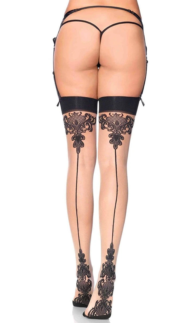 Lost For You Nude Black Sheer Baroque Lace Cuban Heel Back Seam Thigh High Stockings Tights Hosiery