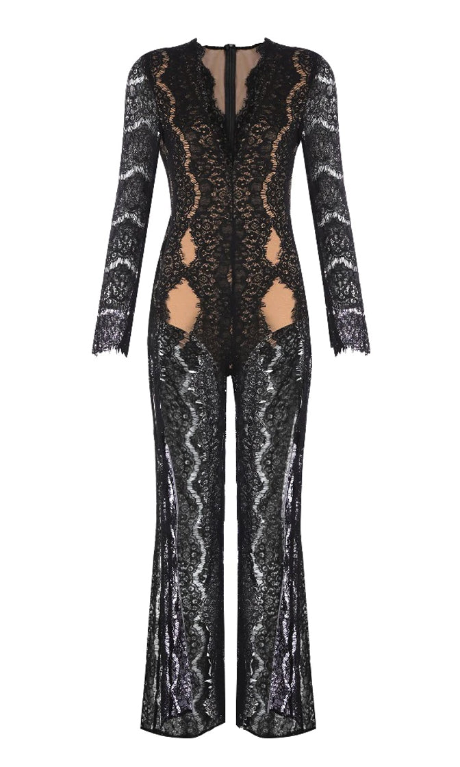 Wander Around Black Sheer Lace Long Sleeve Plunge V Neck Slit Front Jumpsuit