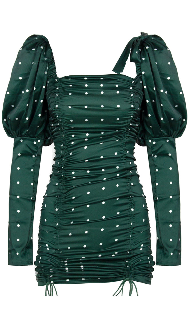 Uptown Funk Emerald Green White Polka Dot Pattern Long Sleeve Puff Shoulder Bow Ruched Square Neck Bodycon Mini Dress