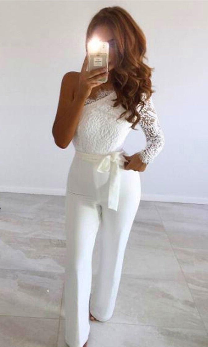 Love Will Remember Lace Long Sleeve One Shoulder Asymmetric Tie Waist Jumpsuit
