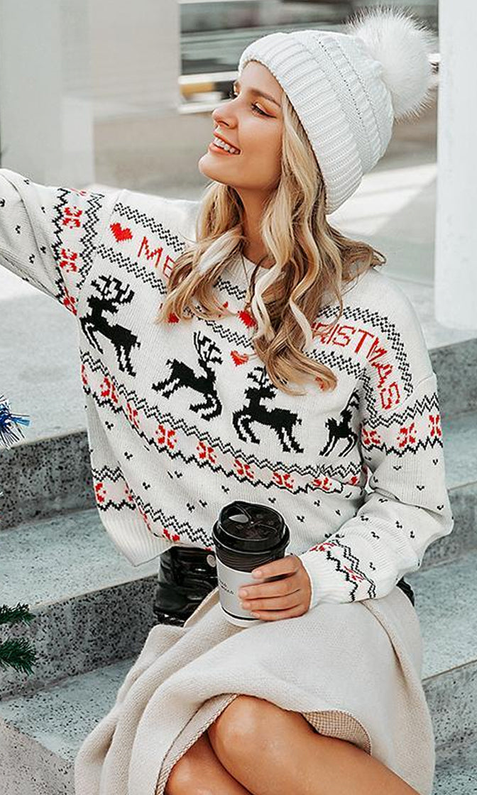 Deck The Halls Heart Reindeer Merry Christmas Pattern Long Sleeve Crew Neck Pullover Sweater - 2 Colors Available