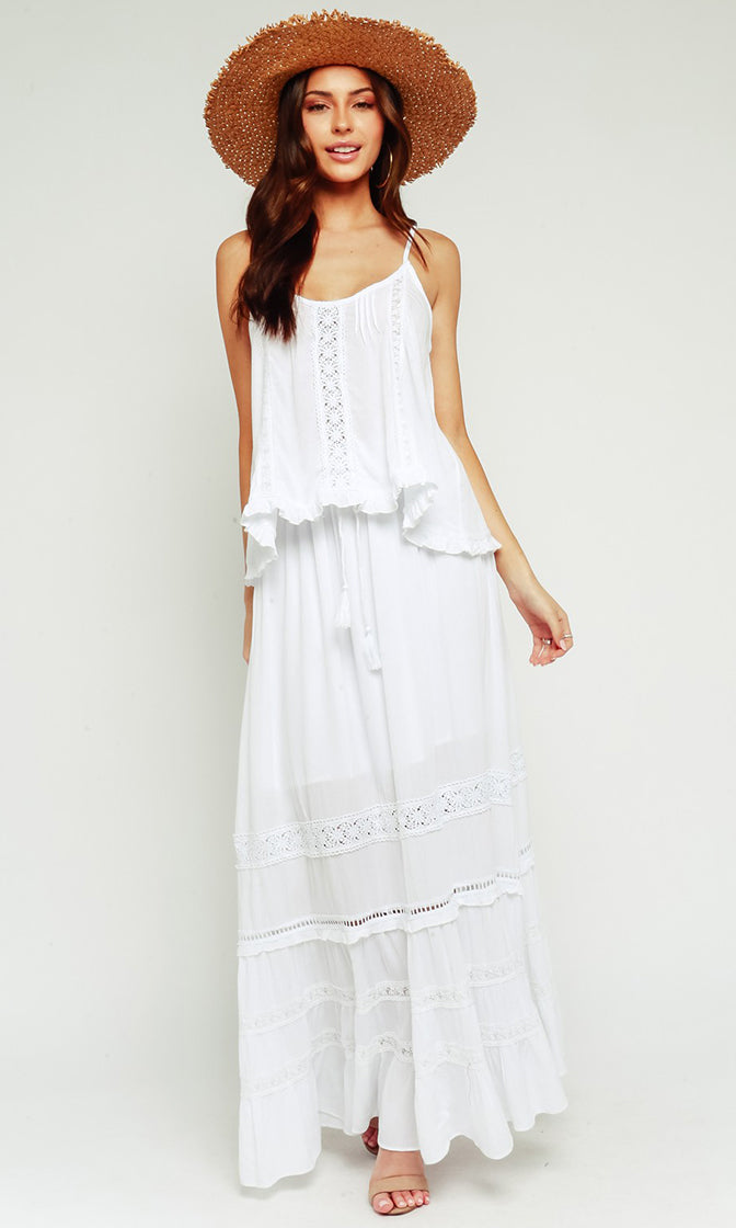 So Inspired White Elastic Waist Lace Trim Ruffle Drawstring Tassel A Line Maxi Skirt
