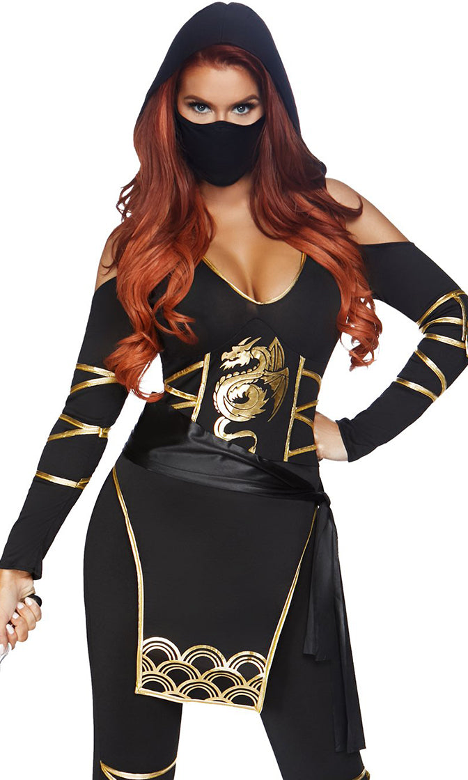 Night Ninja Black Gold Dragon Pattern Long Sleeve Plunge V Neck Hood Cut Out Cold Shoulder Bodycon Jumpsuit Halloween Costume