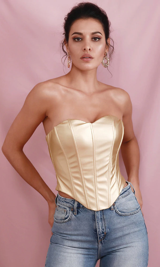 Party Forever Gold PU Faux Leather Strapless Sweetheart Bustier Top